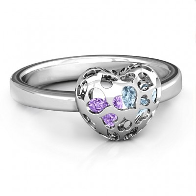 Sterling Silver Petite Caged Hearts Ring with 1-3 Stones  - Name My Jewelry ™