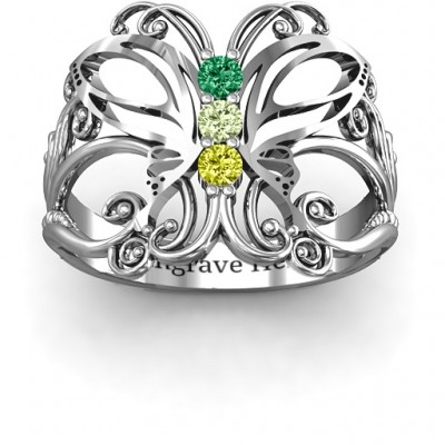Sterling Silver Precious Butterfly Ring - Name My Jewelry ™