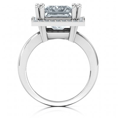 Sterling Silver Princess Cut Cocktail Ring with Halo - Name My Jewelry ™