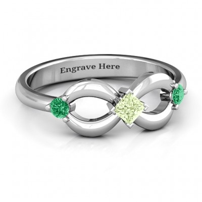 Sterling Silver Princess Infinity Ring - Name My Jewelry ™