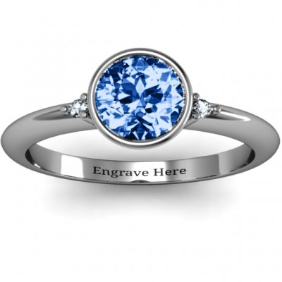 Sterling Silver Round Bezel Solitaire with Twin Accents Ring - Name My Jewelry ™