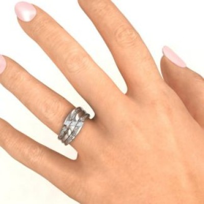 Sterling Silver Shimmering Triple-Marquise Ring - Name My Jewelry ™