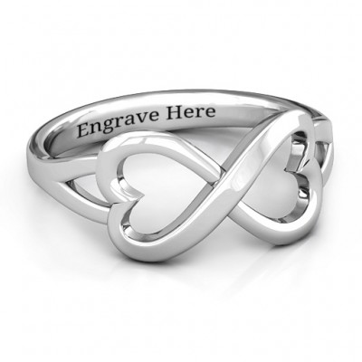 Sterling Silver Simple Double Heart Infinity Ring - Name My Jewelry ™