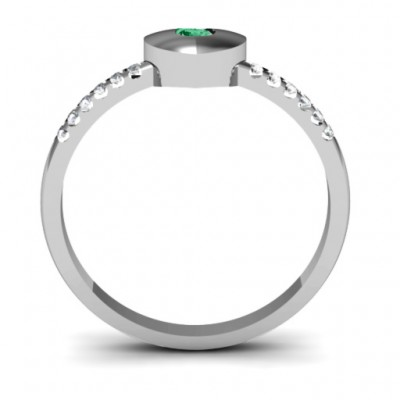 Sterling Silver Solid Heart with Micro Pave Accents Ring - Name My Jewelry ™