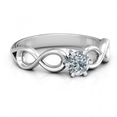 Sterling Silver Solitaire Infinity Ring - Name My Jewelry ™