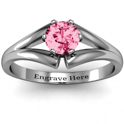 Sterling Silver Solitaire Split Shank Ring - Name My Jewelry ™
