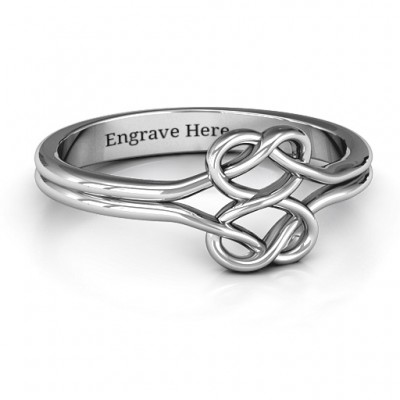 Sterling Silver Tangled Hearts Infinity Ring - Name My Jewelry ™