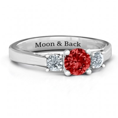 Sterling Silver Three Stone Eternity Ring  - Name My Jewelry ™