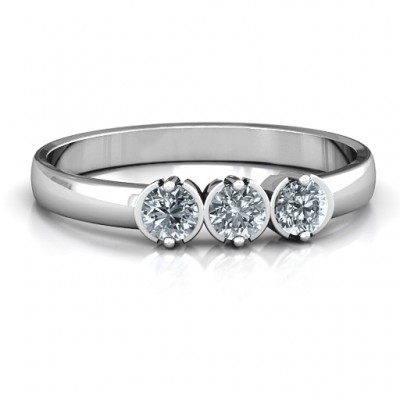 Sterling Silver Trinity Ring with Cubic Zirconias Stones  - Name My Jewelry ™