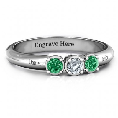 Sterling Silver Triple Round Stone Ring  - Name My Jewelry ™