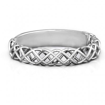 Sterling Silver Woven in Love Ring - Name My Jewelry ™