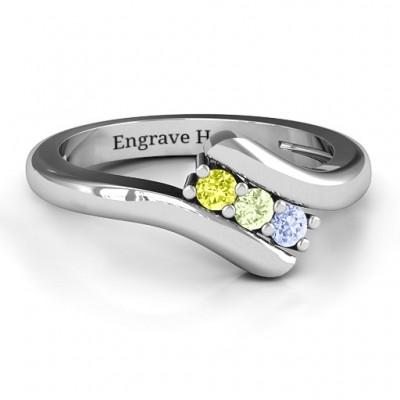 Three Stone Classic Bypass Ring  - Name My Jewelry ™