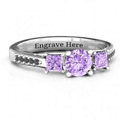 Three Stone Eternity Ring with Twin Accent Rows  - Name My Jewelry ™