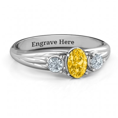 Three Stone Oval Centre Ring  - Name My Jewelry ™