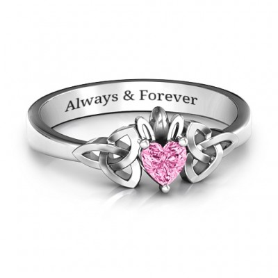 Trinity Knot Heart Crown Ring - Name My Jewelry ™