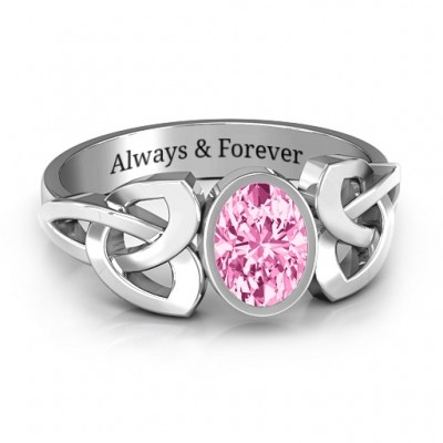 Trinity Knot Ring With Bezel-Set Oval Stone  - Name My Jewelry ™