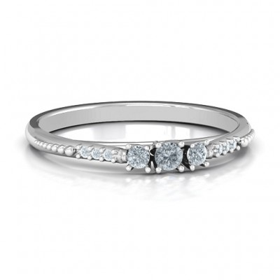 Trinity Ring on Accented Band - Name My Jewelry ™