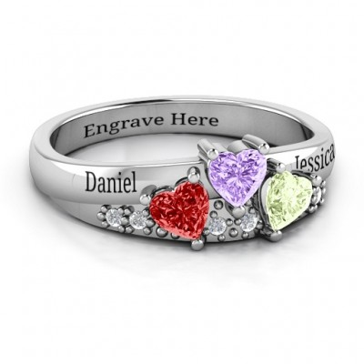 Tripartite Heart Gemstone Ring with Accents  - Name My Jewelry ™