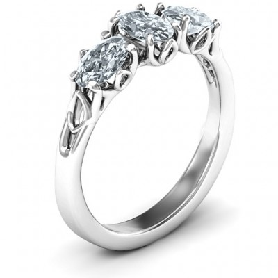 Triple Oval Stone Engagement Ring  - Name My Jewelry ™