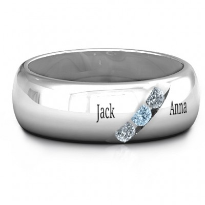 Triple Stone Grooved Men's Ring  - Name My Jewelry ™