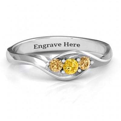 Triple Stone Swirl Ring  - Name My Jewelry ™