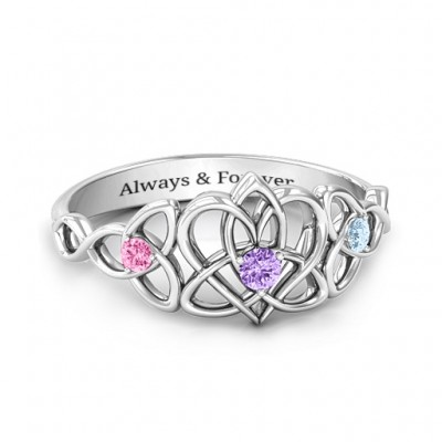 Triple Trinity Celtic Heart Ring - Name My Jewelry ™