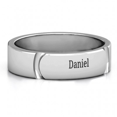 Tungsten Lysander Curved Groove Men's Ring - Name My Jewelry ™