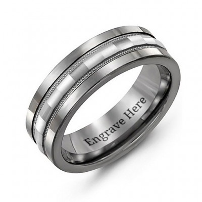 Tungsten Men's Tungsten Grooved Centre Band Ring - Name My Jewelry ™