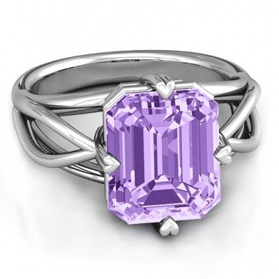 Twisted Shank Emerald Cut Stone with Filigree Ring  - Name My Jewelry ™