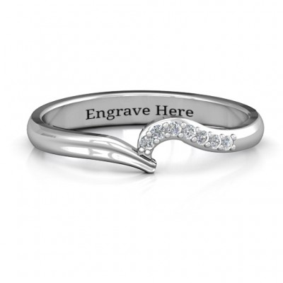 Wave Band Ring with Stone Accents  - Name My Jewelry ™