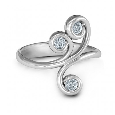 Whimsical Waves 3-Stone Ring  - Name My Jewelry ™