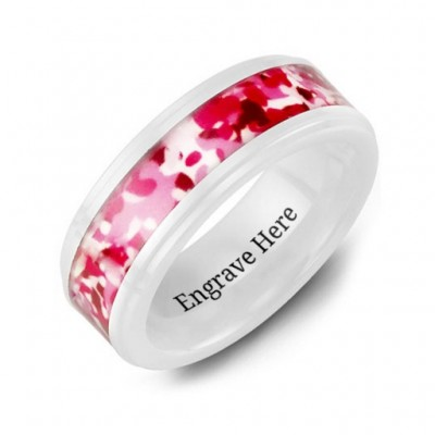 White Ceramic Ring with Colorful Camouflage Centrepiece - Name My Jewelry ™