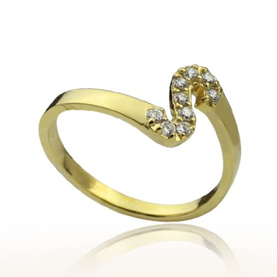 Custom Birthstone Initial Ring 18ct Gold Plated  - Name My Jewelry ™