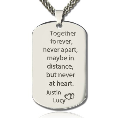 Man's Dog Tag Love Theme Name Necklace - Name My Jewelry ™