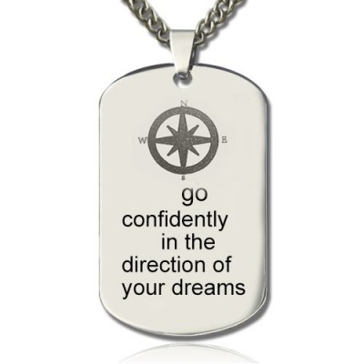 Compass Man's Dog Tag Name Necklace - Name My Jewelry ™