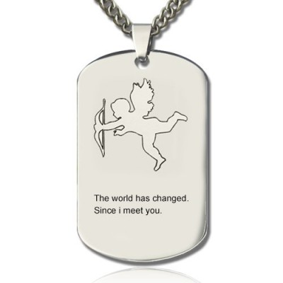 Cupid Man's Dog Tag Name Necklace - Name My Jewelry ™