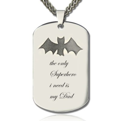 Man's Dog Tag Bat Name Necklace - Name My Jewelry ™