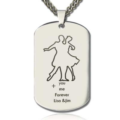Dancing Theme Dog Tag Name Necklace - Name My Jewelry ™