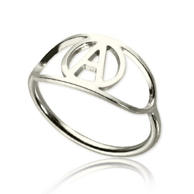 personalized Eye Rings with Initial Sterling Silver - Name My Jewelry ™