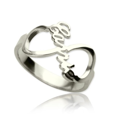 personalized Infinity Nameplate Ring Sterling Silver - Name My Jewelry ™