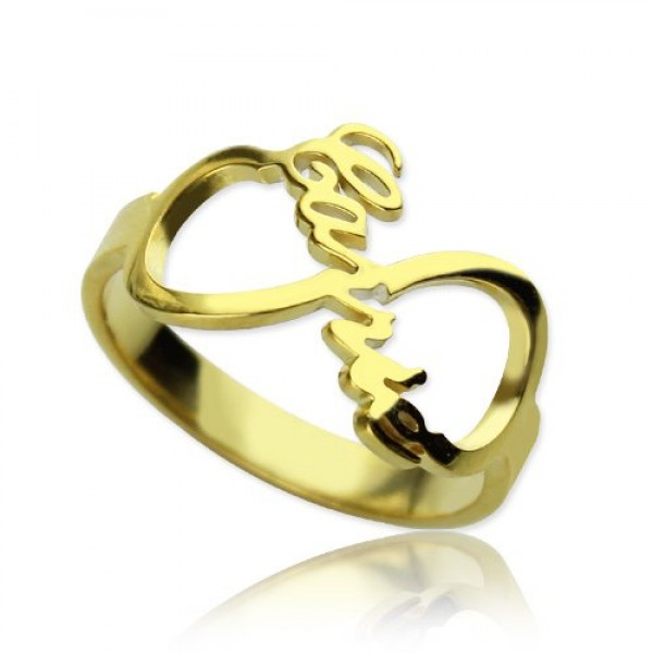 Custom Infinity Name Ring 18ct Gold Plated - Name My Jewelry ™