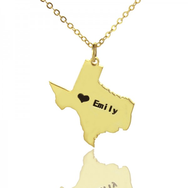 Texas State USA Map Necklace With Heart  Name Gold Plated - Name My Jewelry ™
