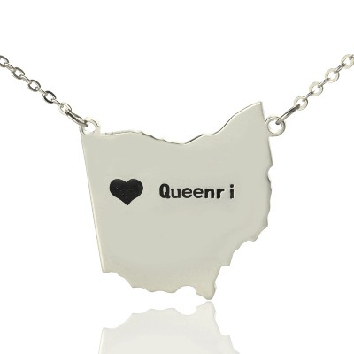 Custom Ohio State USA Map Necklace With Heart  Name Silver - Name My Jewelry ™