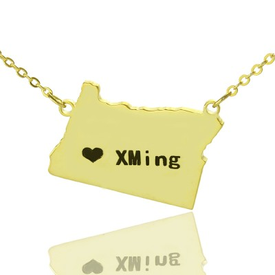 Custom Oregon State USA Map Necklace With Heart  Name Gold Plated - Name My Jewelry ™