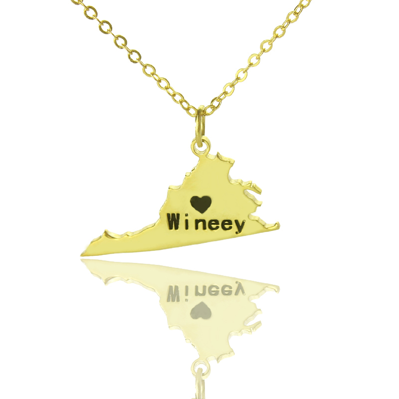 4e9969a5a35c8 Virginia State USA Map Necklace With Heart Name Gold Plated - Name My  Jewelry ™