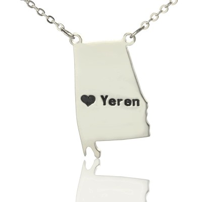 Custom Alabama State USA Map Necklace With Heart  Name Silver - Name My Jewelry ™