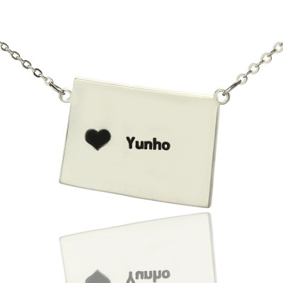 Wyoming State Shaped Map Necklaces With Heart  Name Silver - Name My Jewelry ™