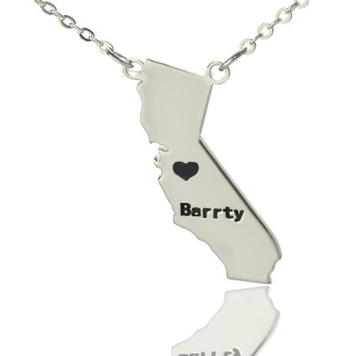 California State Shaped Necklaces With Heart  Name Silver - Name My Jewelry ™