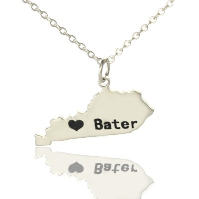 Custom Kentucky State Shaped Necklaces With Heart  Name Silver - Name My Jewelry ™