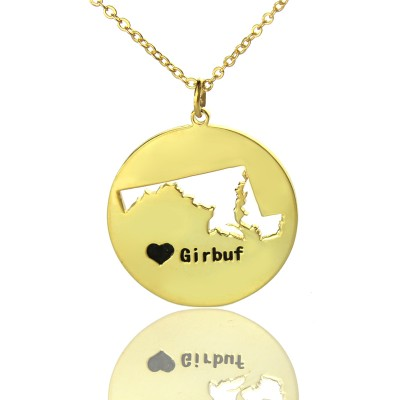 Custom Maryland Disc State Necklaces With Heart  Name Gold Plated - Name My Jewelry ™